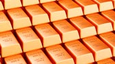 Copper bars background, animation. 3D rendering Stock Footage