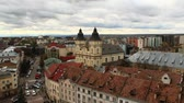 frankivsk : Ivano-Frankivsk from a birds eye view with dark clouds up