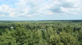 Panoramic landscape. Beautiful landscape on river and swamp from birds eye view 무비클립