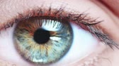 mysterious : Macro Close-up eye blinking. Slow Motion, 120 fps, Zoom. Young Woman is opening and closing her beautiful eye.