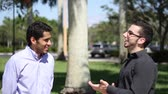 caminhada : Two businessmen chat outdoors. colleagues friendly discussion  Stock Footage