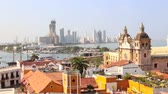 View of the historic center of Cartagena Colombia with the Caribbean Sea visible in the background Wideo