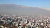 Santiago capital of Chile under early morning fog