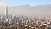 Santiago chile. View from Cerro San Cristobal. In the background the Andes mountains.