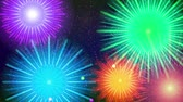 celebration : Fullhd 1920x1080 Progressive Seamlessly Looping Video of Colorful Firework of Various Colors, in Night Sky with Stars. Animated Background for Holiday Design. Alpha Matte Included