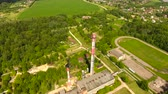 imagens : Aerial view.Pipes of a thermal power plant.Pipe plant, boiler plant. Stock Footage