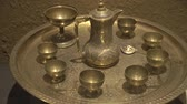 garnek : Antique, Arabic coffee set. Tea set consisting of a kettle and cups.
