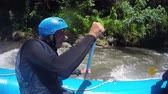 jangada : Rafting in the canyon on Balis mountain river. Group of traveler in the inflatable rafting on the river, extreme and fun sport