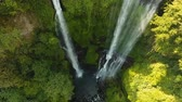 wodospad : Waterfall in green rainforest. Aerial view of triple waterfall Sekumpul in the mountain jungle. Bali,Indonesia. Travel concept. Aerial footage.