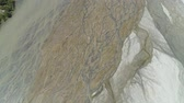 seco : Parched river in mountain province Luzon, Philippines. Aerial view Drought in mountain valley, dry and shallow Bucao river. Stock Footage