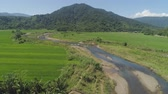 терраса : Mountain valley with river, farmland, rice fields. Aerial view of Mountains with green tropical rainforest, trees, jungle with blue sky. Philippines, Luzon.
