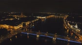 улица : St. Petersburg at night with lights, bridges, buildings. Aerial view panorama of the night city. drone footage, 4k.