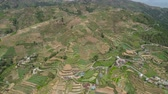 терраса : Aerial view of rice terraces and agricultural farm land on the slopes of mountains valley. Cultivation of agricultural products in mountain province. Mountains covered forest, trees. Cordillera region. Luzon, Philippines, Baguio province. Стоковые видеозаписи