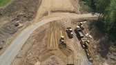 cascalho : Construction of toll roads in rural areas. Aerial view construction of a new highway next to the old highway.