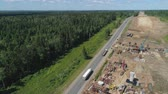 inşaat : Construction of toll roads in rural areas. Aerial view construction of a new highway next to the old highway.