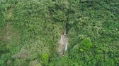 floresta tropical : Aerial view of waterfall in the mountains of Filipino cordillera. Waterfall in the mountains. waterfall flowing on the slopes of mountains covered with tropical vegetation. Philippines, Luzon Stock Footage