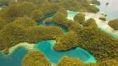 fuzileiros navais : aerial footage islands in lagoon with turquoise water Bucas Grande Island Sohoton Cove. tropical seascape blue sea, azure lagoon. Flying over the azure surface ocean. Travel concept