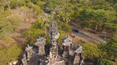 geleneksel : Aerial view of Traditional Hindu temple Pura Pabean, Bali,Indonesia. Balinese Hindu Temple, old hindu architecture, Bali Architecture, Ancient design. 4K video. Travel concept. Aerial footage. Stok Video