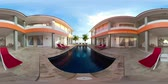 vr360 swimming pool in luxury hotel with sun beds by sea. tropical resort with pool. Travel concept.
