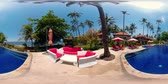 à beira da piscina : vr360 luxury hotel with swimming pool by sea with beach in tropical resort. tropical resort with pool. Travel concept. Vídeos