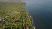 vakantie strand : aerial seascape coastline with black sand beach, palm trees, hotel in tropical resort. Bali,Indonesia, travel concept. aerial footage