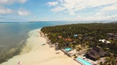 sable : Aerial footage sand beach and palm trees on tropical island with turquoise sea. tropical seascape Siargao, Philippines Tropical landscape ocean, sky, sea