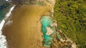 aerial footage coast with beach natural rock pools Siargao, Philippines. Magpupungko natural rock pools. Travel concept,