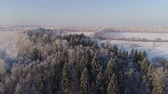 カバー : aerial view snow covered field and forest in winter winter landscape trees covered with snow in countryside.