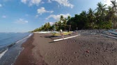 wędkarstwo : Fishing village with sandy beach and fishing boats panorama 360. tropical landscape Coastline with boats on black sand