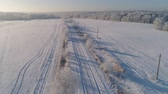 field ice : aerial view winter landscape countryside road through winter field with forest. winter forest on sunny day. winter in countryside Stock Footage
