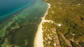 palmeras : Aerial tropical beach and palm trees blue lagoon turquoise sea Panglao Philippines. Tropical landscape ocean, sky, sea. Travel concept. Aerial footage. Archivo de Video