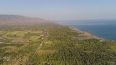 tabák : aerial tropical landscape coastline town by sea, agricultural farmland. agricultural crops in rural area Bali,Indonesia, travel concept.