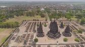romok : aerial view hindu temple Candi Prambanan in Indonesia Yogyakarta, Java. Rara Jonggrang Hindu temple complex. Religious building tall and pointed architecture Monumental ancient architecture, carved stone walls. Stock mozgókép