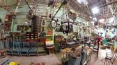ストレージ : antique street shop with old, vintage items. antiques for sale.panorama 360 Bali Indonesia 動画素材