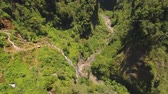 vegetace : mountain gorge with river and waterfall in jungle. aerial view waterfall rainforest in Java Indonesia. forest with green, lush vegetation. aerial footage