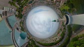 mecset : little planet view largest mosque in Indonesia Al-Akbar in Surabaya, Indonesia. aerial view mosque in modern city