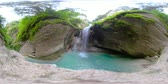 dao : Beautiful waterfall in green forest 360VR. Tropical Dao Falls in mountain jungle, Philippines, Cebu. Waterfall in the tropical forest.