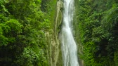 pedras : Beautiful waterfall in green forest. Tropical Mantayupan Falls in mountain jungle, Philippines, Cebu. Waterfall in the tropical forest.