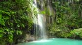 scénický : Cambais waterfalls in a mountain gorge in the tropical jungle, Philippines, Cebu. Waterfall in the tropical forest.