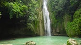 scénický : Waterfall in the rainforest jungle. Tropical Mantayupan Falls in mountain jungle. Philippines, Cebu.