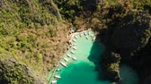 busuanga : Aerial drone lagoons and coves with blue water among the rocks. lagoon, Kayangan Lake.mountains covered with forests. Seascape, tropical landscape. Palawan, Philippines, Busuanga