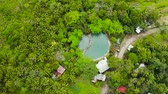 refrescar : Swimming pool with spring natural soda water in the rainforest aerial view, Camigin, Philippines. Hot spring water. Park with swimming pool and soda water for tourists, view from above. Vídeos