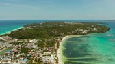 toupie : Tropical island Boracay with sandy beach and hotels view from the sea, aerial view. Summer and travel vacation concept. Philippines