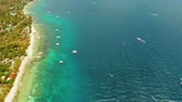 sailboat : Coastline with coral reef and blue water, diving site. Aerial view, Summer and travel vacation concept.