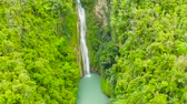 toupie : Mantayupan Falls in the jungle, island of Cebu, Philippines. Waterfall in the green forest. Vidéos Libres De Droits