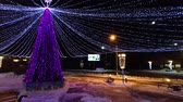 decorazioni natalizie : Christmas tree decorated with colorful illumination. city park with winter night illumination