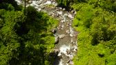 Mountain river with large stones in the rainforest, aerial view. River in the green forest. River flowing through boulders, Camiguin, Philippines.