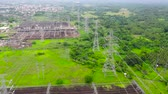 distributie : View of electric transformer station, power transmission line. Electrical distribution substation. Flying over power station.