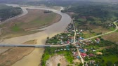 borough : Landscape, bridge over the river and town, top view. River Town on Luzon Island, Philippines. Summer and travel vacation concept.