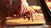 bacon cube : cubes cut cooked meat on the board HD Stock Footage
